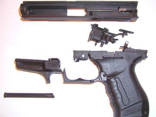 Вид на преграды в стволе пистолета walther pp